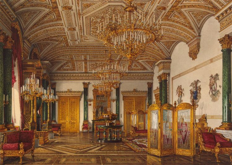 Interiors of the Winter Palace. The Malachite Room by ...
