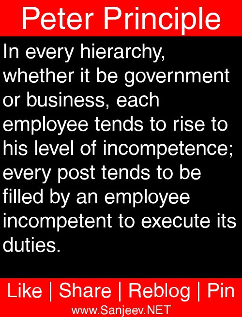 peter principle But the peter principle was more than an alarmingly nasty motto it was an alarmingly nasty book —and a funny one at that, illustrating the efforts of many managers to seem productive when in.