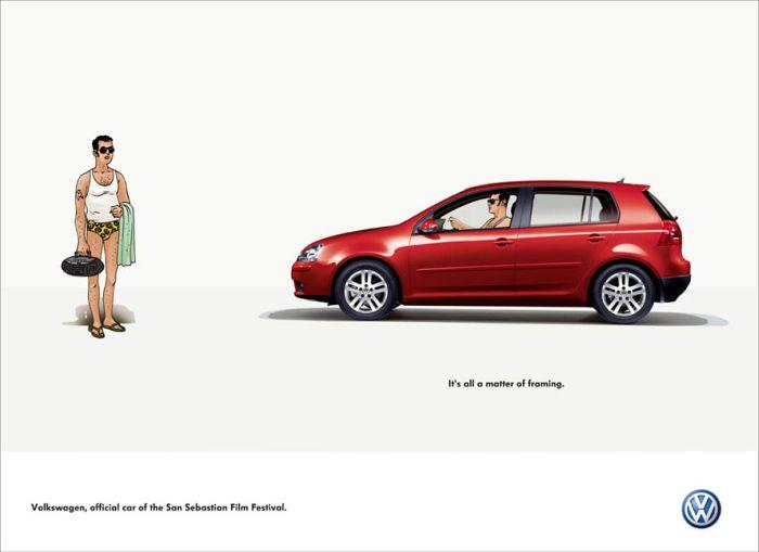 Volkswagen framing swimming trunks print ads sanjeev network